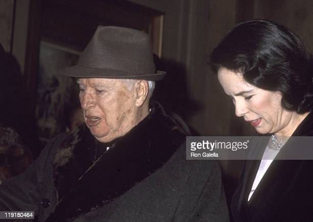 Actor Charlie Chaplin and wife Oona O'Neill Chaplin on April 7 1972 leaving The Plaza Hotel in New York City New York