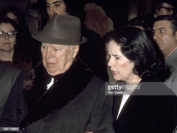 Actor Charlie Chaplin and wife Oona O'Neill Chaplin on April 7, 1972 leaving The Plaza Hotel in New York City, New York.