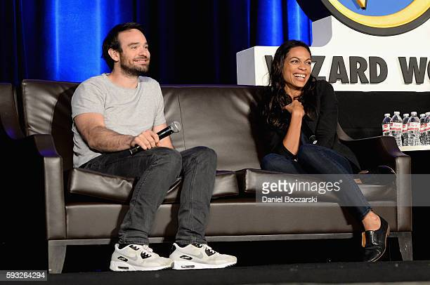 Actor Charlie Cox and Actress Rosario Dawson speak onstage during Wizard World Comic Con Chicago 2016 Day 4 at Donald E Stephens Convention Center on...