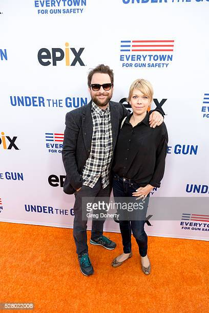 Actor Charlie Day and Actress Mary Elizabeth Ellis arrive at the Premiere Of EPIX's Under The Gun at the Samuel Goldwyn Theater on May 3 2016 in...