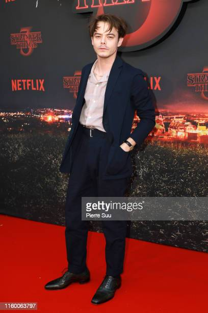 """Actor Charlie Heaton attends the Premiere Of Netflix's """"Stranger Things"""" At Le Grand Rex on July 04, 2019 in Paris, France."""