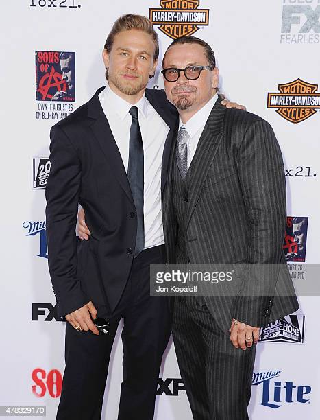 "Actor Charlie Hunnam and creator Kurt Sutter arrive at FX's ""Sons Of Anarchy"" Premiere at TCL Chinese Theatre on September 6, 2014 in Hollywood,..."