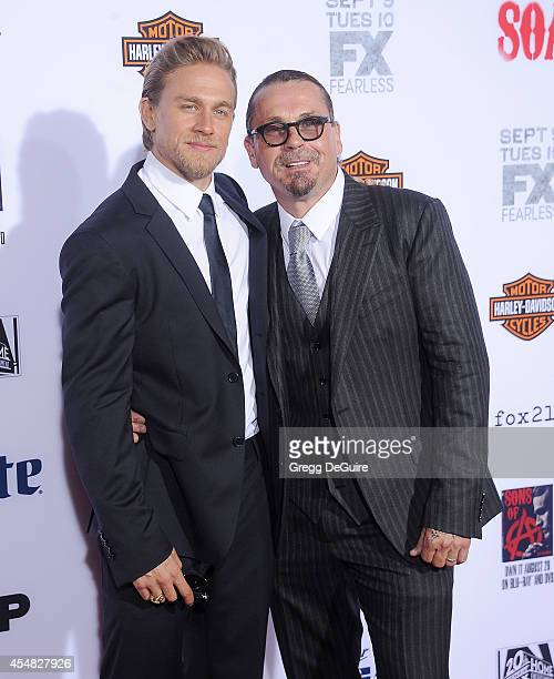 Actor Charlie Hunnam and executive producer Kurt Sutter arrive at FX's 'Sons Of Anarchy' premiere at TCL Chinese Theatre on September 6 2014 in...