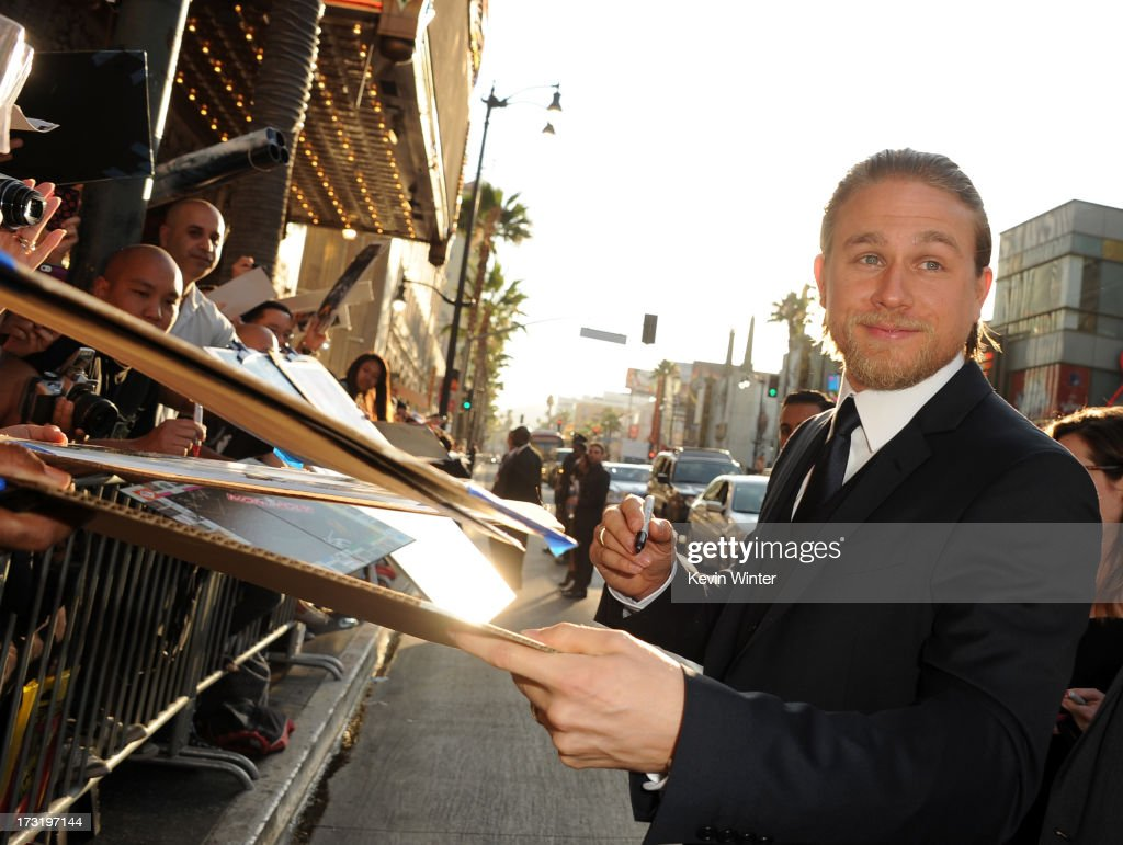 Actor Charlie Hunnam arrives at the premiere of Warner Bros. Pictures' and Legendary Pictures' 'Pacific Rim' at Dolby Theatre on July 9, 2013 in Hollywood, California.