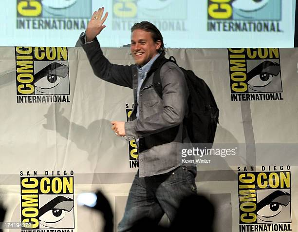 Actor Charlie Hunnam speaks onstage at the Sons Of Anarchy panel during ComicCon International 2013 at San Diego Convention Center on July 21 2013 in...