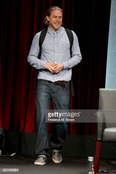 Actor Charlie Hunnam speaks onstage at the 'Sons of Anarchy' panel during the FX Networks portion of the 2014 Summer Television Critics Association...
