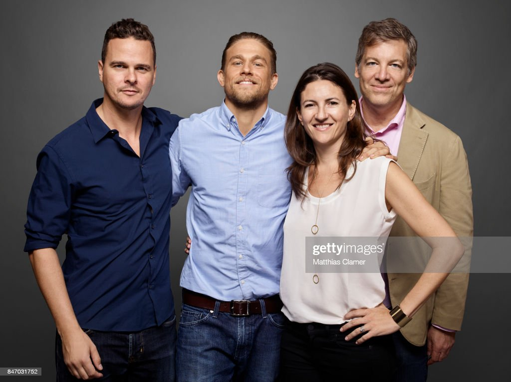 Actor Charlie Hunnam with producers Joby Harold, Tory Tunnell and Lionel Wigram from 'King Arthur' are photographed for Entertainment Weekly Magazine on July 23, 2016 at Comic Con in the Hard Rock Hotel in San Diego, California.