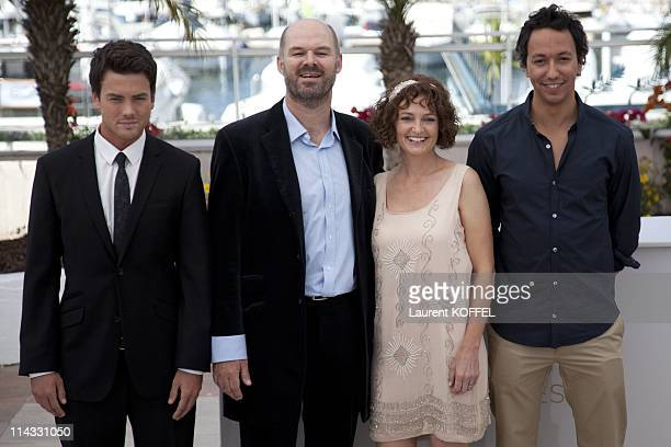 Actor Charlie Keegan actor Deon Lootz actress Michelle Scott and director Oliver Hermanus attend the 'Skoonhei'' photocall at the Palais des...