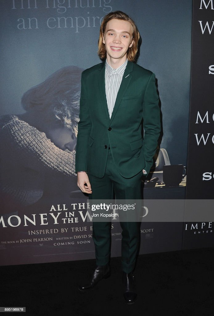 Actor Charlie Plummer attends the Los Angeles Premiere 'All The Money In The World' at Samuel Goldwyn Theater on December 18, 2017 in Beverly Hills, California.