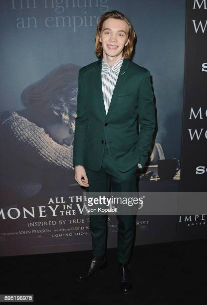 Actor Charlie Plummer attends the Los Angeles Premiere 'All The Money In The World' at Samuel Goldwyn Theater on December 18 2017 in Beverly Hills...