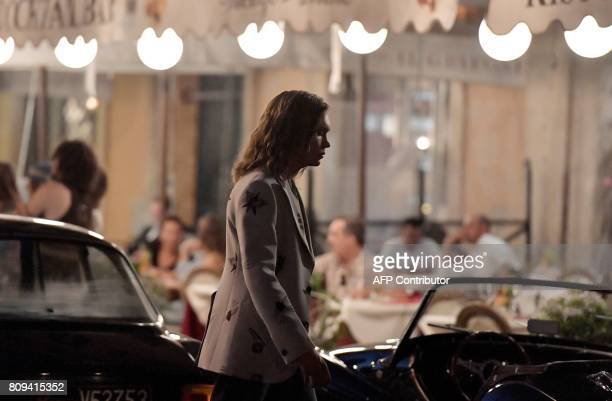 US actor Charlie Plummer is pictured on the set of British film director Ridley Scott's new movie 'All the money in the world' at Piazza Navona in...