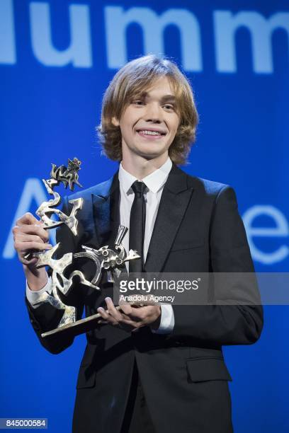 Actor Charlie Plummer wins the Marcello Mastroianni Prix with the film 'Lean on Pete' during Ceremony Awards of the 74th Venice International Film...