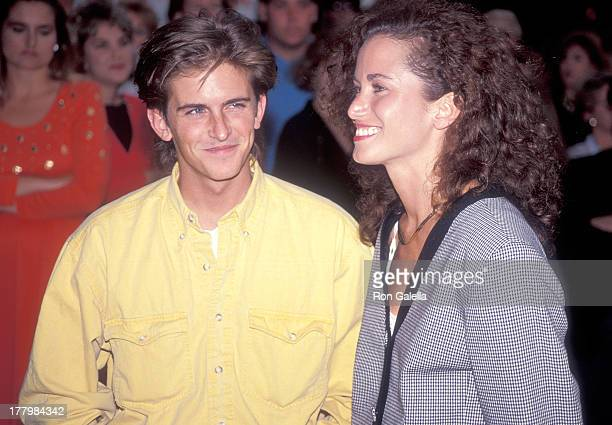Actor Charlie Schlatter and girlfriend Colleen Gunderson attend the Doc Hollywood Beverly Hills Premiere on July 31 1991 at the Samuel Goldwyn...