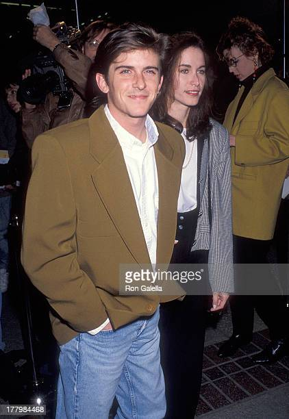 Actor Charlie Schlatter and girlfriend Colleen Gunderson attend the Bodies Rest Motion Burbank Premiere on April 1 1993 at AMC Burbank 14 in Burbank...