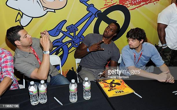 "Actor Charlie Schlatter, animator Sandro Corsaro, NBA basketball player Dwight Howard and actor Matt L. Jones attend Disney XD'S ""Kick Buttowski..."