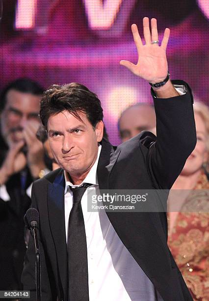 Actor Charlie Sheen accepts the Favorite TV Comedy award for Two and a Half Men during the 35th Annual People's Choice Awards held at the Shrine...