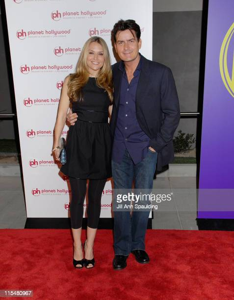 Actor Charlie Sheen and Brooke Mueller arrive at Barbra Streisand's performance at Planet Hollywood Resort & Casino Grand Opening Weekend on November...