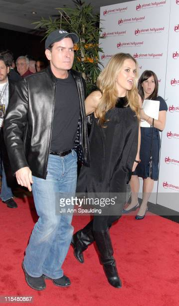 Actor Charlie Sheen and Brooke Mueller arrive at Jon Stewart's performance at Planet Hollywood Resort Casino's Grand Opening Weekend on November 16...