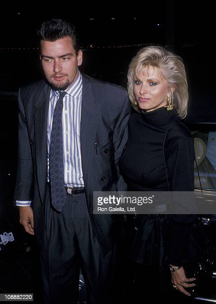 Actor Charlie Sheen and Cathy St George attend Golden Eagle Awards on May 13 1988 at the Beverly Hilton Hotel in Beverly Hills California