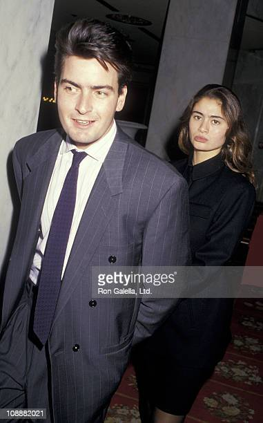Actor Charlie Sheen and Charlotte Lewis attend 47th Annual Golden Apple Awards on December 13 1987 at the Beverly Wilshire Hotel in Beverly Hills...
