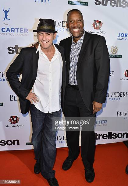 Actor Charlie Sheen and Ex Toronto Blue Jay player Joe Carter attend the Joe Carter Classic After Party to support the Children's Aid Foundation at...