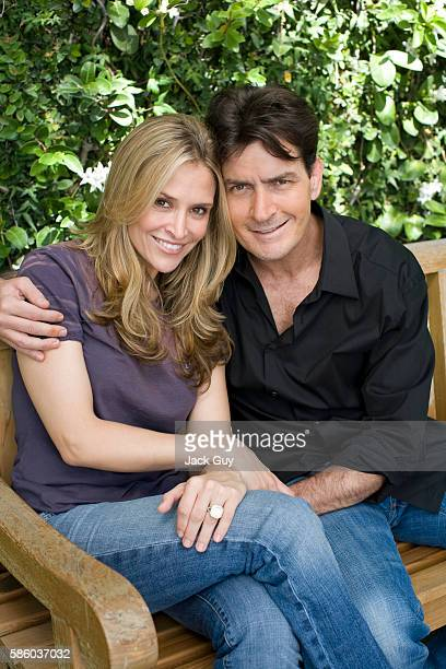 Actor Charlie Sheen and fiance Brooke Mueller are photographed for People Magazine on July 10, 2007 in Los Angeles, California.