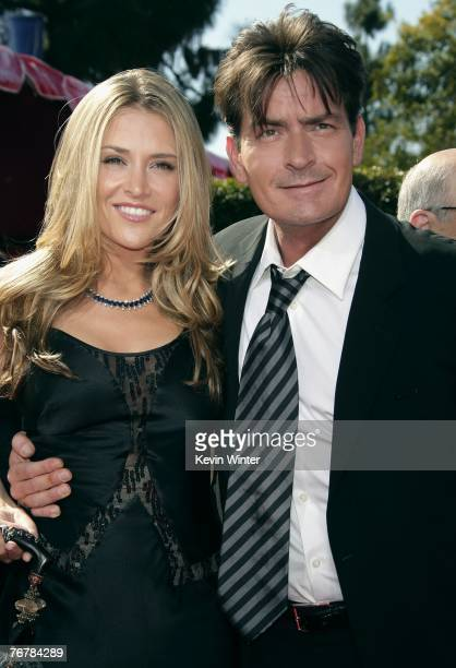 Actor Charlie Sheen and fiancee Brooke Mueller arrive at the 59th Annual Primetime Emmy Awards at the Shrine Auditorium on September 16 2007 in Los...
