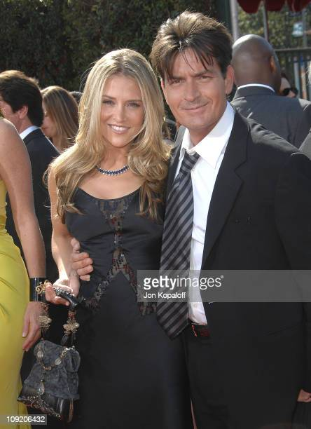 Actor Charlie Sheen and fiancee Brooke Mueller arrives at the 59th Primetime EMMY Awards at the Shrine Auditorium on September 16 2007 in Los Angeles...