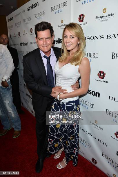 Actor Charlie Sheen and fiancee Scottine Sheen attend the Joe Carter Classic Charity Golf Tournament afterparty at ShangriLa Hotel on June 26 2014 in...