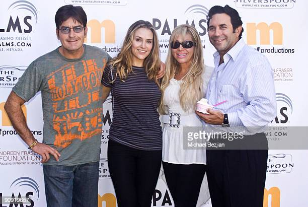 Actor Charlie Sheen and his wife actress Brooke Mueller and friends attend the Silver Spoon Emmy suite at Maloof Estate on September 17 2009 in...
