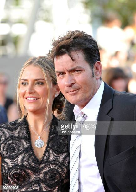 Actor Charlie Sheen and wife Brooke Mueller arrive at the 61st Primetime Emmy Awards held at the Nokia Theatre LA Live on September 20 2009 in Los...