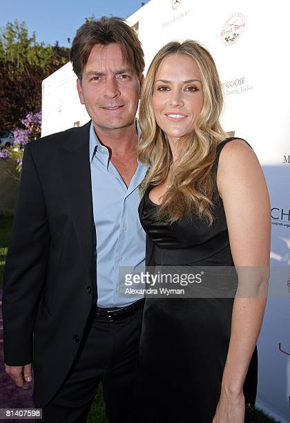 Actor Charlie Sheen and wife Brooke Mueller arrive at the 7th Annual Chrysalis Butterfly Ball held at a private residence on May 31 2008 in Los...