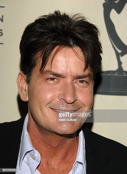 Actor Charlie Sheen arrives at An Evening with Two And A Half Men held on February 27 2008 at the Academy of Television Arts Sciences in North...