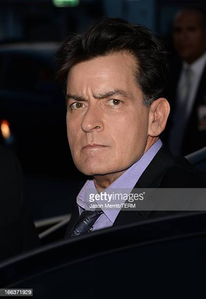 Actor Charlie Sheen arrives at the Dimension Films' 'Scary Movie 5' premiere at the ArcLight Cinemas Cinerama Dome on April 11 2013 in Hollywood...