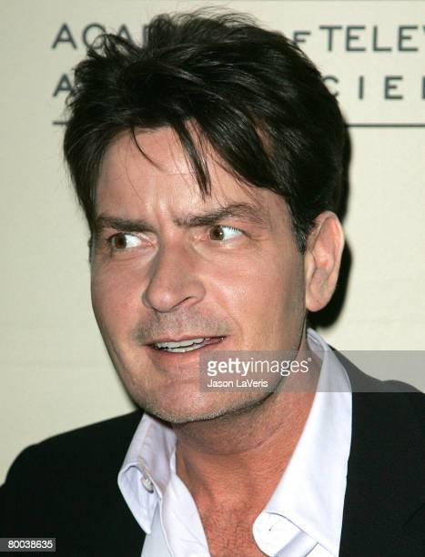 Actor Charlie Sheen attends An Evening with Two and a Half Men held at The Leonard Goldenson Theater on February 27 2008 in North Hollywood California