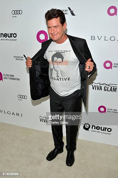Actor Charlie Sheen attends Neuro at the 24th Annual Elton John AIDS Foundation's Oscar Viewing Party at The City of West Hollywood Park on February...