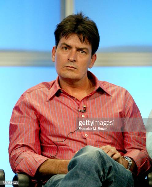 Actor Charlie Sheen attends the panel discussion for 'Two And A Half Men' during the CBS 2005 Television Critics Association Summer Press Tour at the...