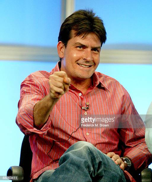 Actor Charlie Sheen attends the panel discussion for Two And A Half Men during the CBS 2005 Television Critics Association Summer Press Tour at the...