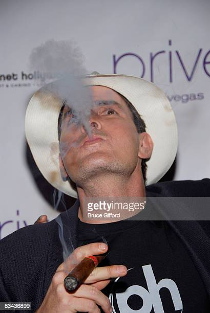 Actor Charlie Sheen hosts an evening at Prive Nightclub inside Planet Hollywood Hotel and Casino on October 25 2008 in Las Vegas Nevada