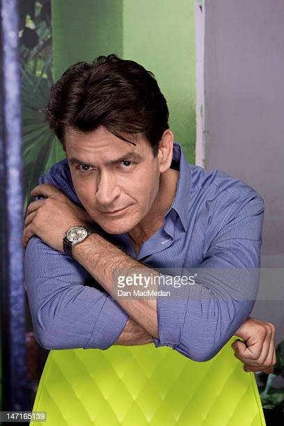 Actor Charlie Sheen is photographed on the set of his new comedy for USA Today on April 26 2012 in Sun Valley California