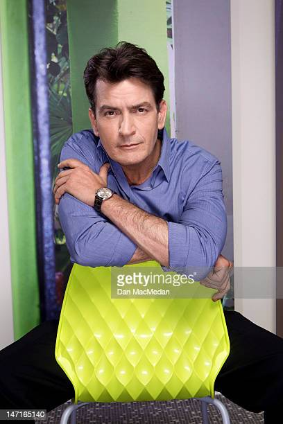 Actor Charlie Sheen is photographed on the set of his new comedy for USA Today on April 26, 2012 in Sun Valley, California. PUBLISHED IMAGE.