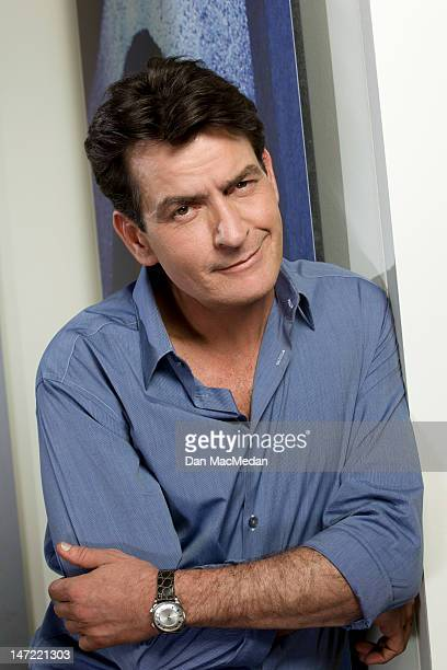 Actor Charlie Sheen is photographed on the set of his new comedy for USA Today on April 26 2012 in Sun Valley California PUBLISHED IMAGE