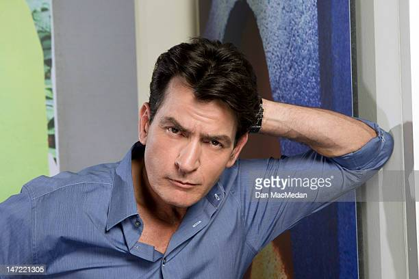Actor Charlie Sheen is photographed on the set of his new comedy for USA Today on April 26, 2012 in Sun Valley, California.