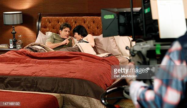 Actor Charlie Sheen is photographed on the set of his new comedy with co-star actress Selma Blair for USA Today on April 26, 2012 in Sun Valley,...
