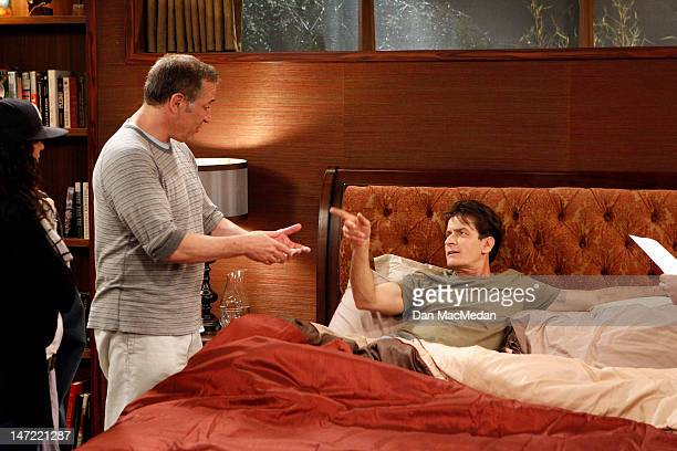 Actor Charlie Sheen is photographed with director Sam Simon on the set of his new comedy for USA Today on April 26, 2012 in Sun Valley, California.