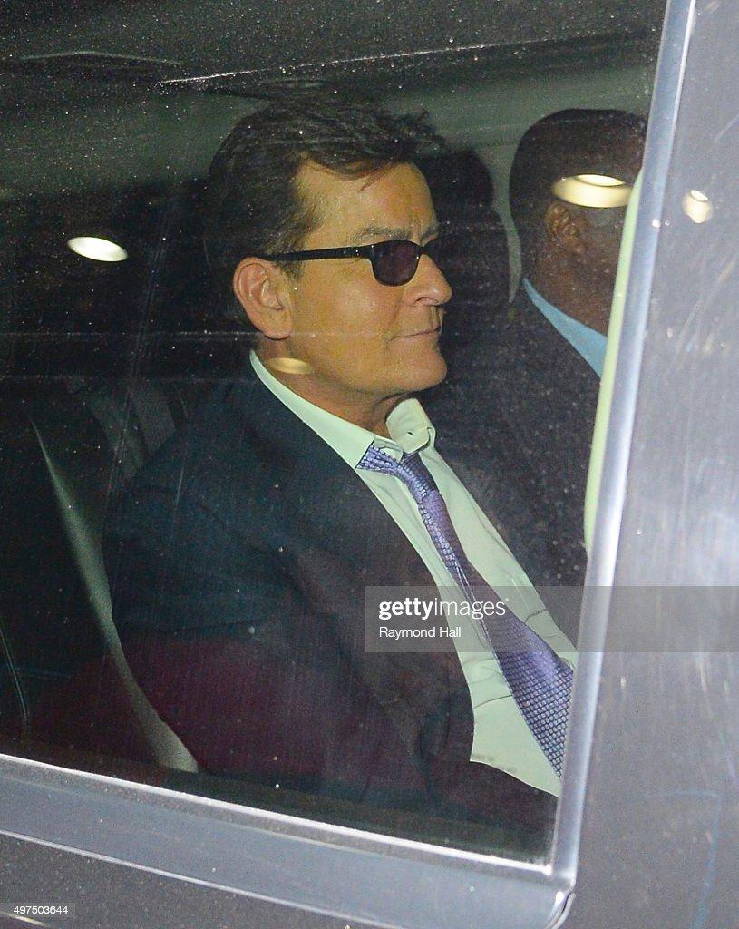 Actor Charlie Sheen is seen in 'Midtown' on November 17, 2015 in New York City.