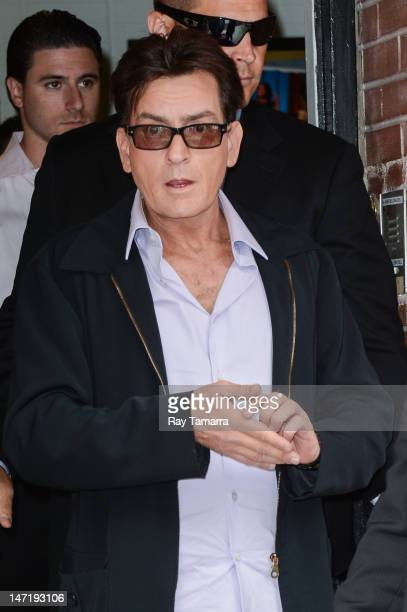 Actor Charlie Sheen leaves the Wendy Williams Show taping at the AMV Studios on June 26 2012 in New York City