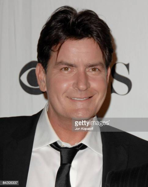 Actor Charlie Sheen poses at the 35th Annual People's Choice Awards Press Room at the Shrine Auditorium on January 7 2009 in Los Angeles California