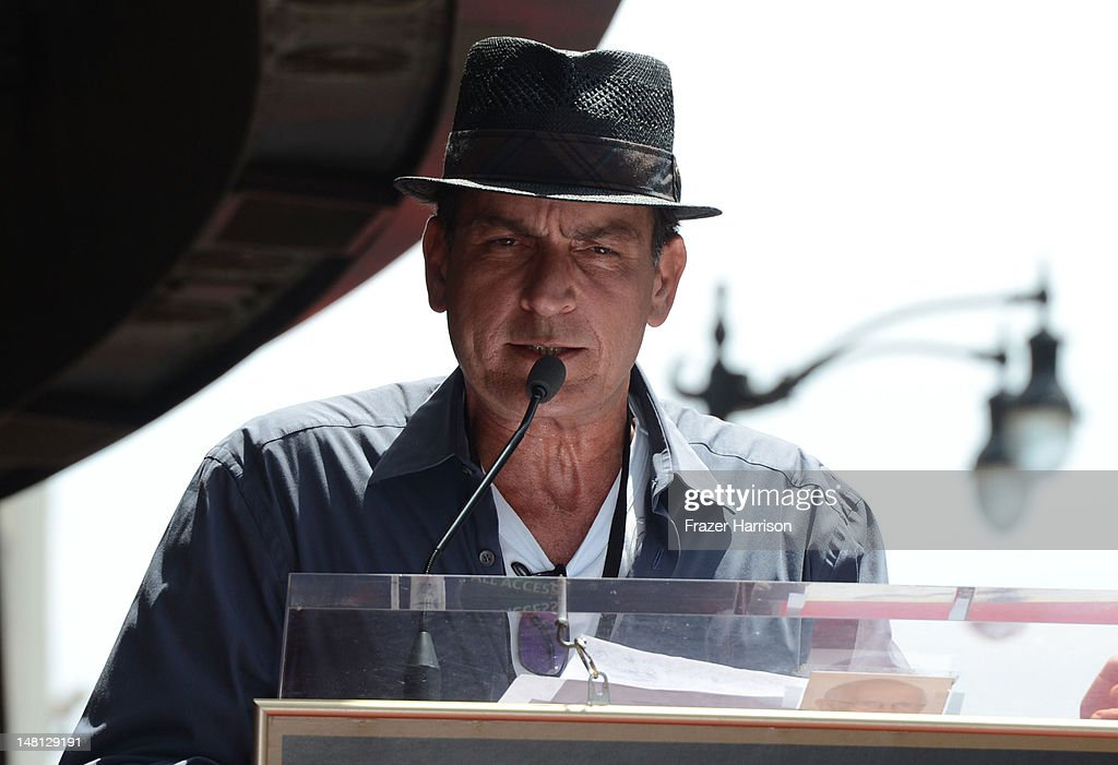 Actor Charlie Sheen speaks at the 2,473rd star on the Hollywood Walk of Fame for musician Slash outside the Hard Rock Cafe on July 10, 2012 in Hollywood, California.