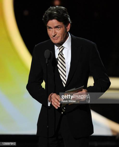 Actor Charlie Sheen speaks onstage during the 63rd Annual Primetime Emmy Awards held at Nokia Theatre LA LIVE on September 18 2011 in Los Angeles...